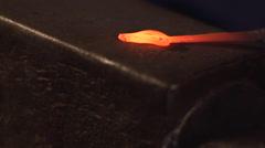 Blacksmith Artist Hammering Steel on Anvil Stock Footage