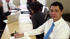 Portrait of office worker in meeting Stock Footage