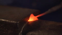 Blacksmith Artist Hammering Steel on Anvil Stock Footage