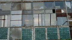 Glass house window abandoned video warehouse factory broken Stock Footage
