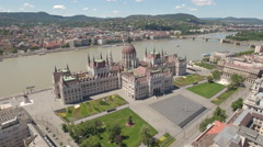 Aerial view of Budapest - Hungarian Parliament, Hungary Stock Footage