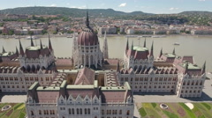 Aerial view of Hungarian Parliament - Budapest, Hungary Stock Footage