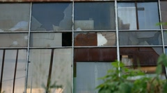 Glass house window abandoned warehouse factory broken video Stock Footage