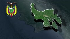 Guayas with Coat Of Arms Animation Map Stock Footage