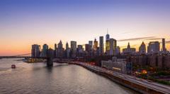 New York City Skyline Time Lapse Stock Footage