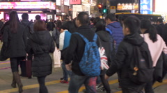 Crowded pedestrian crossing at Causeway Bay, Hong Kong. Stock Footage