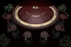 Blackjack table and chairs Stock Illustration