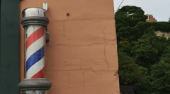 Old fashioned barber pole turning Stock Footage