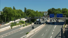 TL 4K Autobahn A40 at Urban city downtown Essen busy Traffic NRW Germany Europe Stock Footage