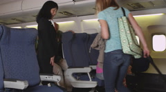Family boarding a plane Stock Footage