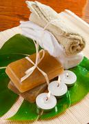 Towels, soaps and candles Stock Photos