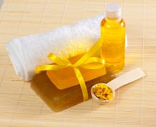Soap, towel and other accessories Stock Photos