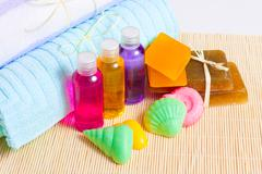 Towels, handmade soap and shower gels Stock Photos