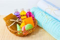 Towels, soap and shower gels Stock Photos