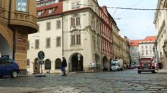 Tram driving in the old city of Prague  Stock Footage
