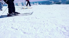 Russia, Sheregesh, 26 march 2015. Skiing, mountains and skiers in slowmotion Stock Footage