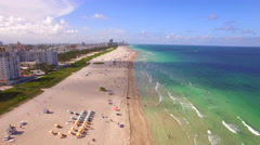 Aerial View, Flying Over Beach at Sunset in Miami, Florida, United States Stock Footage
