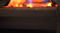 Placing Steel in a Forge Oven Stock Footage
