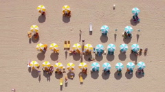 Overhead Aerial View of Parasols at the Beach in the Summer, Miami, Florida, USA Stock Footage