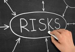 Risks chalkboard write concept illustration Stock Illustration