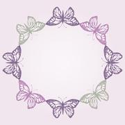Vector illustration with magic hand drawn butterfly Stock Illustration