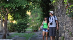 Two tourists walk around Brazil, taking in the sights Stock Footage