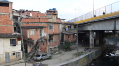 View of apartment buildings in the poor area of Brazil Stock Footage