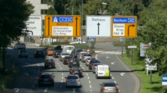 4K Urban city downtown traffic Autobahn Essen NRW Germany Europe Stock Footage