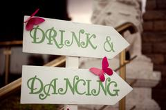 Wedding wooden sign drink and dance Stock Photos