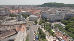 Aerial view of Budapest downtown - Elizabeth square, Hungary Stock Footage