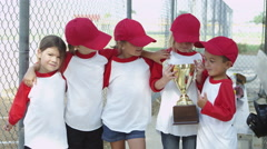 Little league team wins trophy Stock Footage