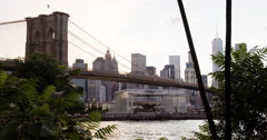 Brooklyn Bridge - sunset - establishing shot - 4k Stock Footage