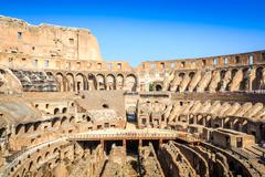 Interior of huge Colosseum, Italy Stock Photos