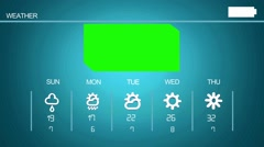 Green Screen - Weather  Application - Forecast Symbols - Grid - Blue 2 Stock Footage