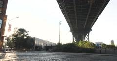 DUMBO - Down Under Manhattan Bridge Overpass - 4k Stock Footage