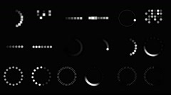 18 Animated Loopable Loading Design Symbols Package Stock Footage