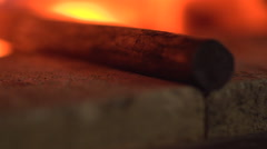 Steel in Blacksmith Forge Oven Stock Footage
