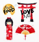 Asia symbols fortune cookies Stock Illustration