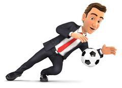 3d businessman stopping soccer ball Stock Illustration