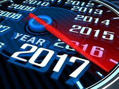 Abstract new year speedometer 2017 (done in 3d rendering) Stock Illustration