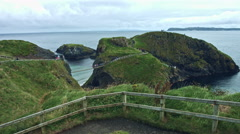 4k Shot of Carrick-a-Rede Rope Bridge, Game of thrones filming location Stock Footage