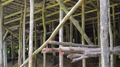 Wooden Piers under a House in Borneo, Malaysia. Video 4k Stock Footage