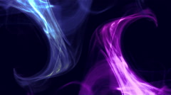2 symetrical curls, waves of colored smoke on black background - Blue and Pink Stock Footage