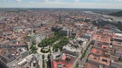 Aerial view of Budapest downtown - Freedom square, Hungary Stock Footage