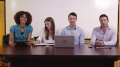 View of four interviewers Stock Footage