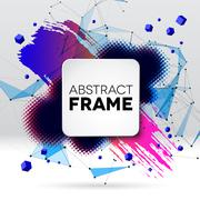 Background with brush stroke, blot, triangular grid and frame Stock Illustration