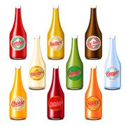 Pack of ketchup, vinegar, mustard, soy, cheese and mayonnaise sauce bottles Stock Illustration
