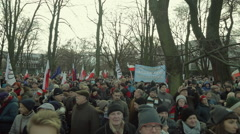 Demonstration to Defend Democracy in Warsaw, Poland. December 12th, 2015. Stock Footage