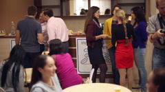 Coffee break, people talking in the bar Stock Footage