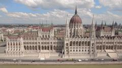 Aerial shot of Hungarian Parliament - Budapest, Hungary Stock Footage